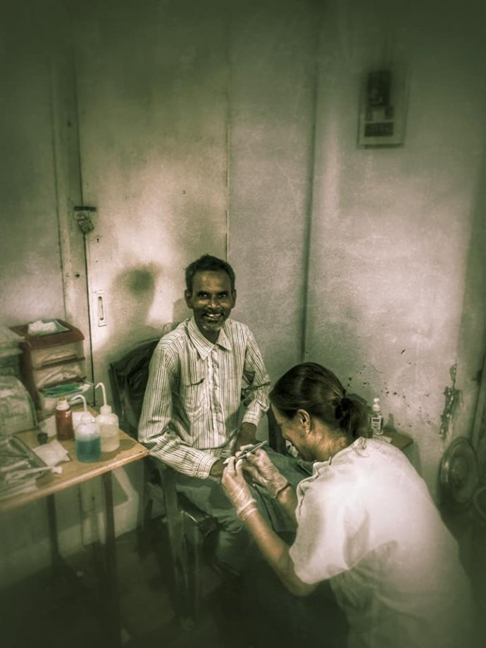 We went to a dispensary at Benares in India to provide support to vulnerable people